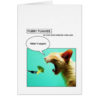 Furry Funnies ~ cat and broccoli Greeting Card