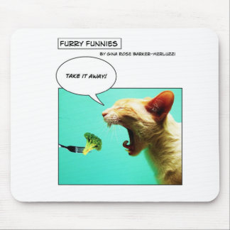 Furry Funnies ~ cat and broccoli Mousepads