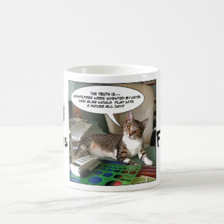 """Furry Funnies """"Cat with a Mouse?"""" Coffee Mug"""