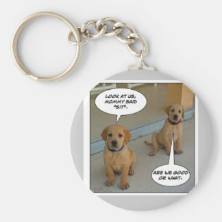 "Furry Funnies ""LAB PUPS?"" Basic Round Button Key Ring"