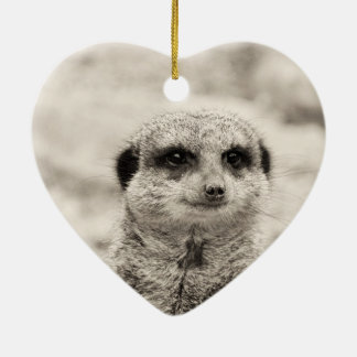 Furry Little Meerkat Ceramic Heart Decoration