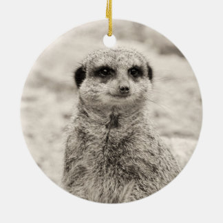 Furry Little Meerkat Round Ceramic Decoration