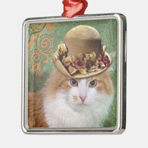 Furry orange white cat in fashion vintage hat christmas ornaments