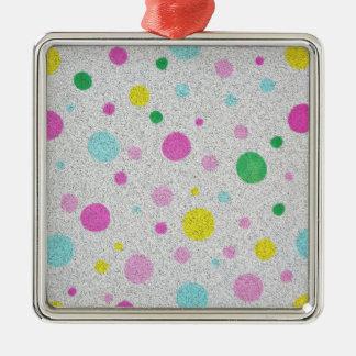 Furry Pastel Polka Dots Bubbles Ornaments