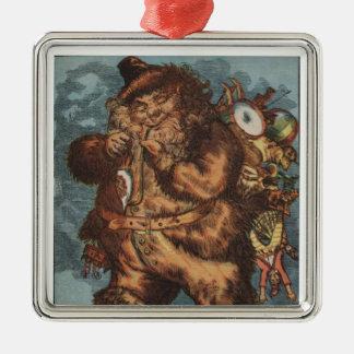 Furry Santa Claus - 1850's Silver-Colored Square Decoration