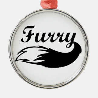 Furry Silver-Colored Round Decoration