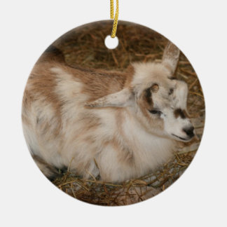 Furry small goat doeling baby right round ceramic decoration