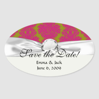 fuschia and olive fleur damask pattern oval sticker