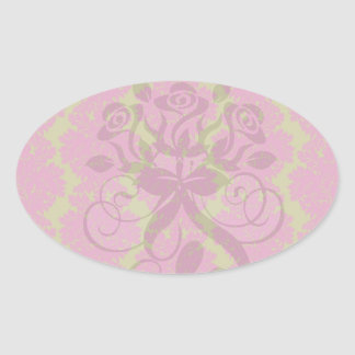 fuschia and olive fleur damask pattern stickers