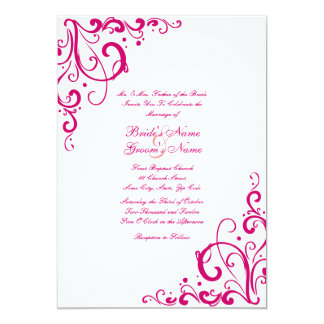 Fuschia and White Flourish Wedding Invitation