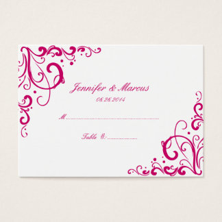 Fuschia and White Flourish Wedding Seating Cards