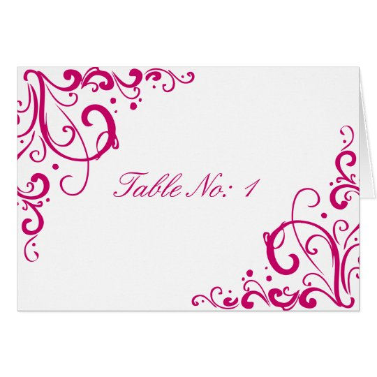 Fuschia and White Flourish Wedding Table Card