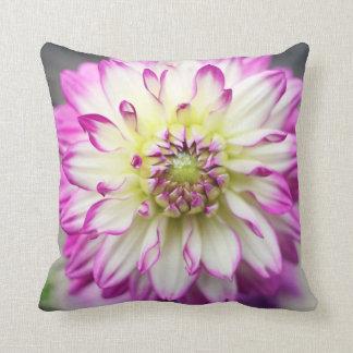 Fuschia Dahlia Flower Throw Pillows