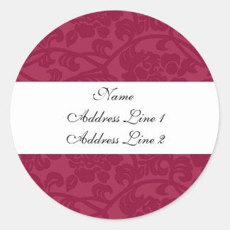 Fuschia Damask Address Labels Round Sticker