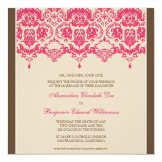 Fuschia Darling Damask Square Wedding Invitation