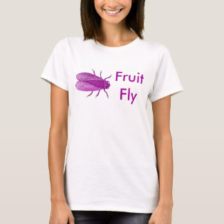 Fuschia Fruit Fly T-Shirt Antique Fly Engraving