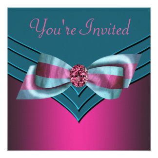 Fuschia Hot Pink Teal Blue All Occasion Party Invite