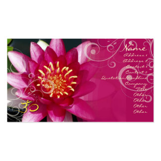 Fuschia lotus + pearly swirls business cards