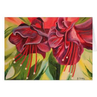 Fuschia Oil Painting Card By Joanne Casey