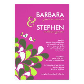 Fuschia Pink and Green Wedding Invitations