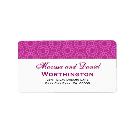 Fuschia Pink Circle Flowers Wedding Ver D001 Address Label