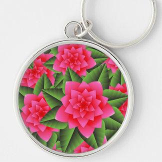 Fuschia Pink Gardenias and Green Leaves Key Chains