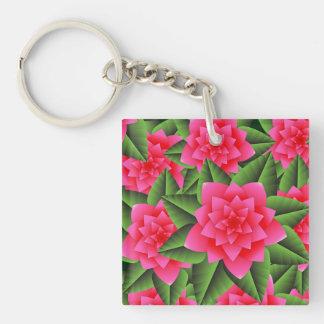 Fuschia Pink Gardenias and Green Leaves Acrylic Keychains