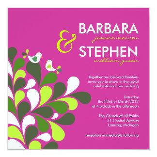 Fuschia Pink & Green Whimsical Wedding Invitations