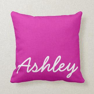 Fuschia pink linen texture white initials cushion