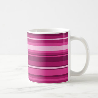 Fuschia stripes basic white mug