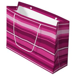 Fuschia stripes large gift bag