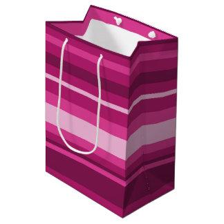 Fuschia stripes medium gift bag