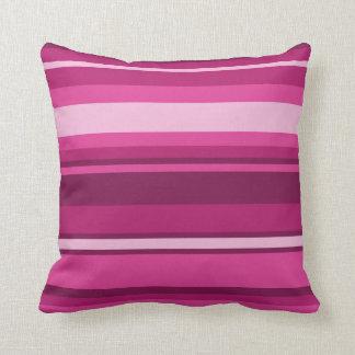 Fuschia stripes throw pillow