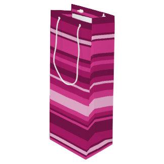 Fuschia stripes wine gift bag