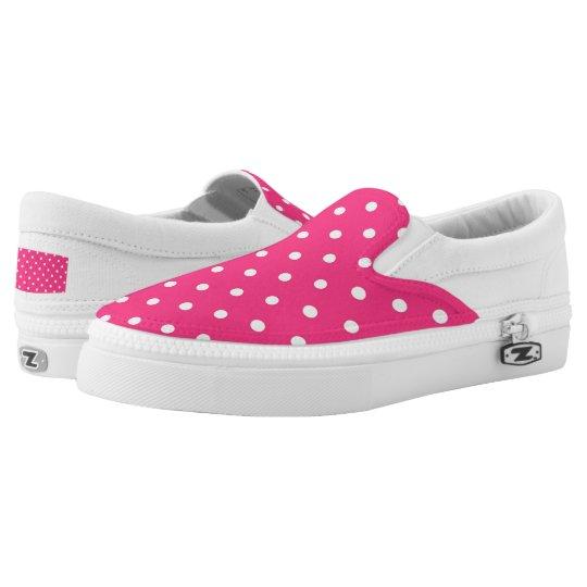Fuschia White Polka Dots Zipz Slip On Shoes