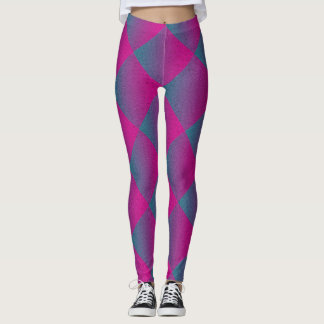 Fuscia and Deep Turquoise Squares Pattern Leggings