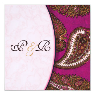 Fuscia Paisley Wedding Invitation