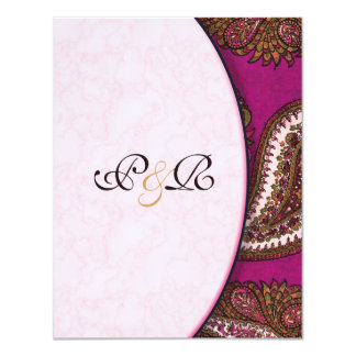 Fuscia Paisley Wedding Invitation RSVP