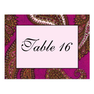 Fuscia Pink Paisley Table Numbers Postcard