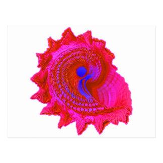 Fuscia Pink Spiral Seashell Postcard