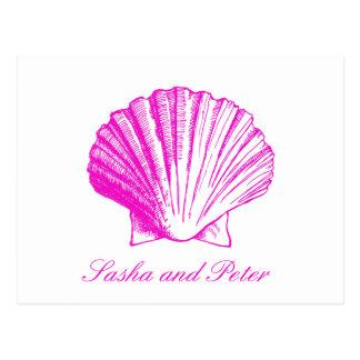Fuscia Shell Beach Wedding RSVP Postcard