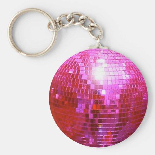 FUSHIA DISCO BALL DANCE PARTY BASIC ROUND BUTTON KEY RING