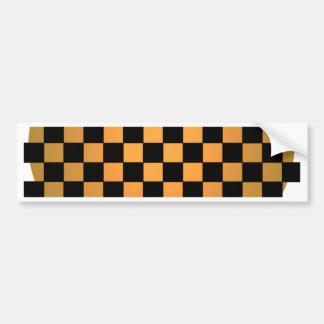 Fusion Checkerboard Gold White Black Mod Retro Bumper Sticker