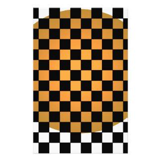 Fusion Checkerboard Gold White Black Mod Retro Stationery Design