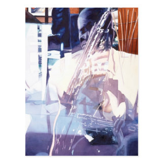 """Fusion"" Jazz Player Watercolor Art Postcard"
