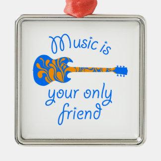 Fussy blue guitar Silver-Colored square decoration
