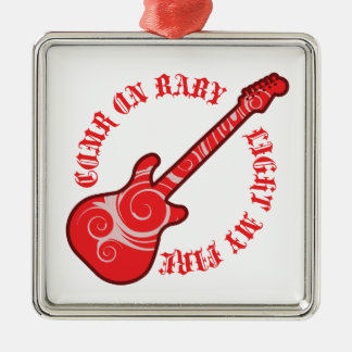 Fussy red guitar Silver-Colored square decoration