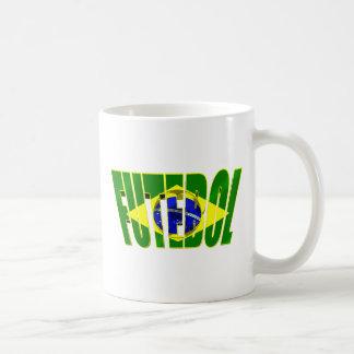 Futebol 3D Brazil flag drop shadow logo Mugs
