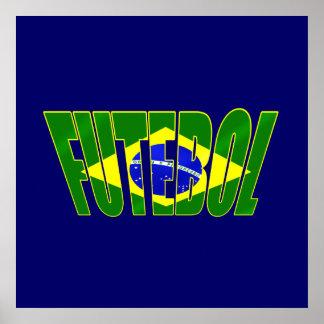 Futebol Brasil Bandeira Brazilian flag Futebol Poster