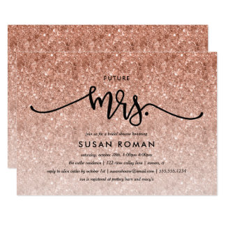 Futre Mrs. Rose Gold Glitter Bridal Shower Card